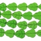 Askher Green 16x11mm Leaf Glass Beads 12 inch Strand