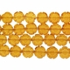 Amber 11mm Round Flower Glass Beads 12 inch Strand
