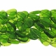 Green 17x12mm Flat Teardrop Glass Beads 12 inch Strand