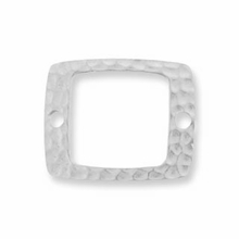 Rhodium Drilled Hammertone Rectangle
