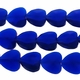 Cobalt 19x15mm Faceted Heart Glass Beads 13 inch Strand