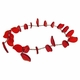 Ruby Fire 18x12mm Leaf Glass Beads 12 inch Strand