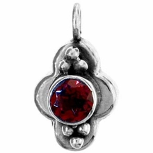 Round Faceted Garnet Gemstone Pendant