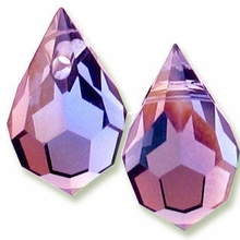 Czech 6 x 10mm Tear Drop Amethyst AB Beads (1PR)