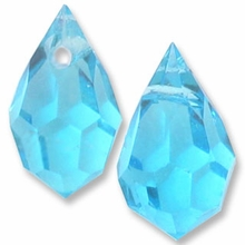Czech 6 x 10mm Tear Drop Aquamarine Beads (1PR)