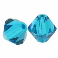 Blue Zircon 5328 3mm Swarovski Crystal XILION Bicone Beads (50PK)