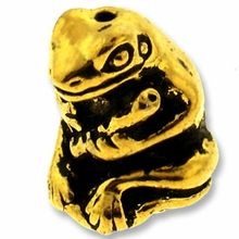 Antique Gold Frog w/ Flute Bead