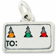 Christmas Gift Tag with Swarovski Crystal Charm