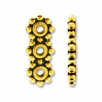 Antique Gold 3 Hole 6mm Heishi Spacer Bar