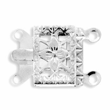 Silver Plated 2 Strand Filigree Box Clasp (1PC)