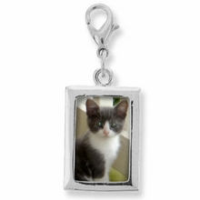 Rectangle Photo Frame Charm Silver Plated