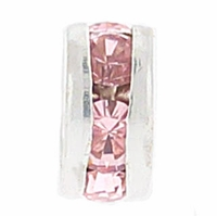 6mm Lt. Rose Crystal Rhinestone Silver Plated Rondelles (4PK)