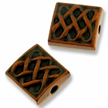 Antique Copper Plated Fancy Square Bead (1PC)