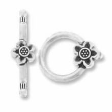 Silver Plated Flower Toggle (1PC)