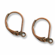 Antique Copper Oval Lever Back Earrings (5PR)