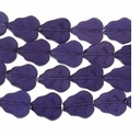 Tanzanite 16x11mm Leaf Glass Beads 12 inch Strand