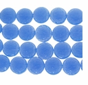 Periwinkle Blue 15mm Puffed Textured Disc Beads 12 inch Strand