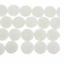 Snow White 15mm Puffed Textured Disc Glass Beads 12 inch Strand