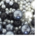 Black Tie Mix Glass Pearls 4-20mm (100G)