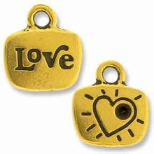 Antique Gold Crystal Glue-In Love Charm