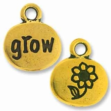 Antique Gold Crystal Glue-In Grow Charm