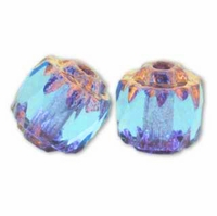 Czech Bronze Antique 6mm Octagonal Aquamarine Beads (25PK)