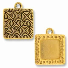 Antique Gold Hammertone Square Picture Frame Charm