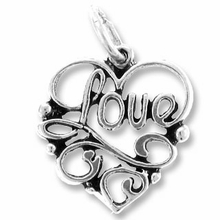 Sterling Silver Love Inside Heart Sterling Silver Charm