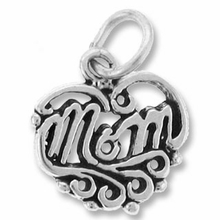 Sterling Silver Mom Inside Heart Sterling Silver Charm