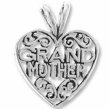 Sterling Silver Grand Mother Inside Heart Charm