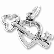 Sterling Silver Lock and Key Heart Sterling Silver Charm
