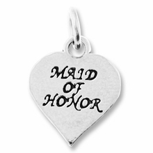 Maid of Honor in Heart Charm