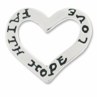 Love Hope Faith Open Heart Charm