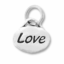 Silver Finish Pewter Message Charm LOVE