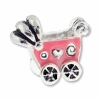 MIOVI™ Silver Plated LH Pink Enamel Baby Buggy LH Bead (1PC)