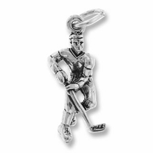 Sterling Silver Hockey Player Sterling Silver Charm