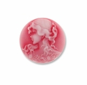 Cameo, Grace, White on Red, 20mm Round Synthetic Cabochon (5PK)