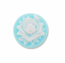 Cameo, Rose Flower, White on Blue,  20mm Round Synthetic Cabochon (5PK)