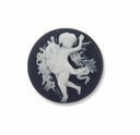 Cameo, Angel, White on Black, 20mm Round Synthetic Cabochon (5PK)