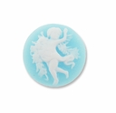 Cameo, Angel, White on Blue,  20mm Round Synthetic Cabochon (5PK)