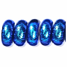 7x4mm Aqua Black Rondelle Glass Bead (1PC)