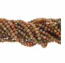 Sunset Jasper 4mm Round Gemstone Beads 16 inch Strand