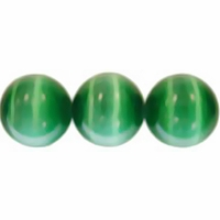 Green 8mm Cats Eye Glass Beads 16 Inch Strand
