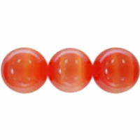 Orange/Red 8mm Cats Eye Glass Beads 16 Inch Strand