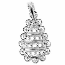 Sterling Silver Filigree Tear Drop Pendant  (1PC)