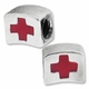 MIOVI™ Silver Plated Large Hole Red Cross Bead (1PC)