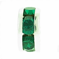 8mm Emerald Crystal Rhinestone Silver Plated Rondelles (4PK)