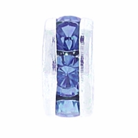 8mm Lt.Sapphire Crystal Rhinestone Silver Plated Rondelles (4PK)