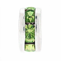 8mm Olivine Crystal Rhinestone Silver Plated Rondelles (4PK)