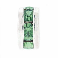 8mm Peridot Crystal Rhinestone Silver Plated Rondelles (4PK)